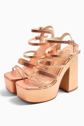 Topshop Womens Rapid Copper Strap Platform Heels - Copper