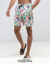 Asos TALL Swim Shorts In Pink Tropical Floral Print With Triangle Logo In Mid Length