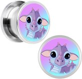 Body Candy Stainless Steel Baby Dragon Screw Fit Plug Pair 1/2""