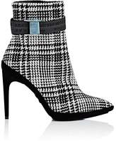 Off-White Women's Velvet-Heel Plaid Wool Ankle Booties