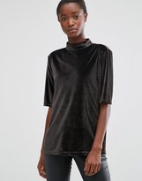 B.young High Neck Velvet Top in Asphalt