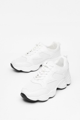 Nasty Gal Womens Tread Carefully Faux Leather Chunky Trainers - White - 3