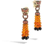 John Hardy Women's Legends Macan Tassle Earring, 18K Gold, Orange Sapphire, Pave Black Diamond (0.09ct)