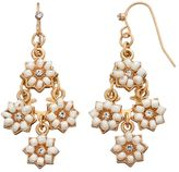 Lauren Conrad White Flower Nickel Free Kite Earrings