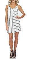 1 STATE Mixed Stripe V-Neck Shift Dress