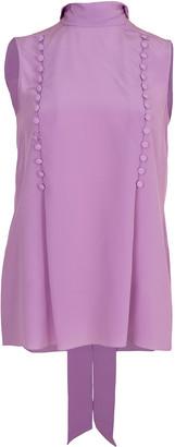Givenchy Sleeveless Scarf Neck Button Top