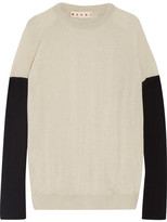 Marni Bow-embellished Color-block Cashmere Sweater - Cream