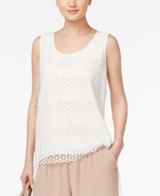 August Silk Lace-Front High-Low Blouse