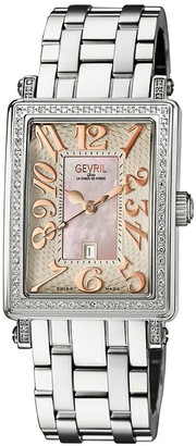 Gevril Mezzo Rectangle Mother-Of-Pearl Stainless Steel Diamond Watch