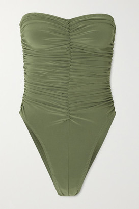 Norma Kamali Slinky Marissa Ruched Bandeau Swimsuit - Green