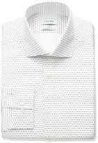 Calvin Klein Men's Non Iron Slim Fit Dot Print Spread Collar Dress Shirt