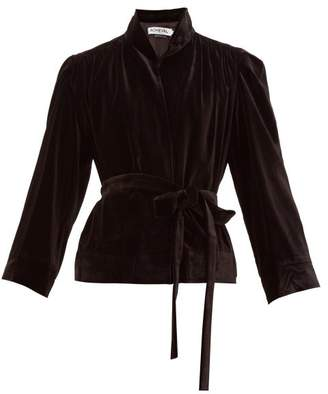 Àcheval Pampa Acheval Pampa - Single-breasted Belted Velvet Jacket - Womens - Black