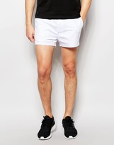 Asos Slim Chino Shorts In White In Extreme Short Length