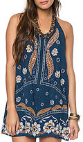 O'Neill Ellison Printed Woven Embroidered Halter Shift Dress