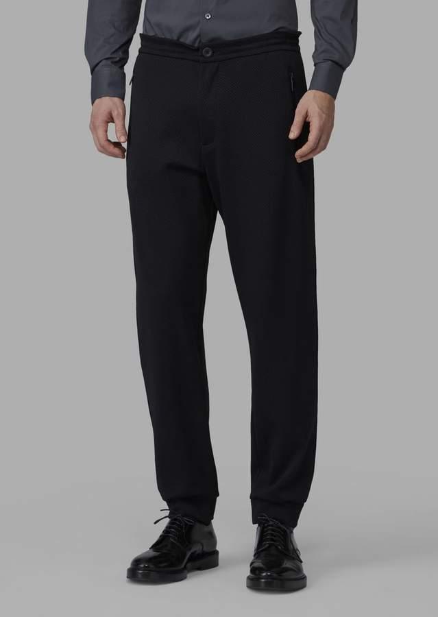 Giorgio Armani Trousers In Mesh-Effect Double Jacquard Fabric