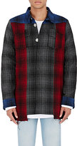 Off-White Men's Buffalo-Checked Patchwork Shirt Jacket
