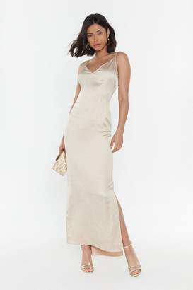Nasty Gal Womens Top Table Material Satin Maxi Dress - Beige - 12, Beige