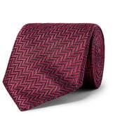 Ermenegildo Zegna 7cm Herringbone Silk Tie - Burgundy