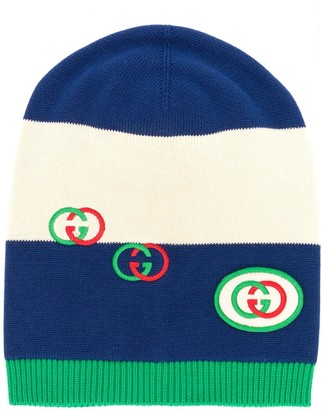 Gucci GG embroidered striped beanie