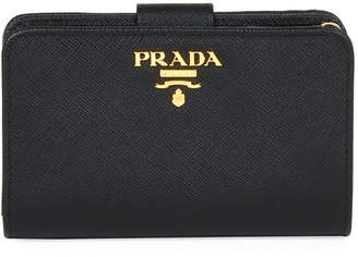 Prada Saffiano Triangle Bi-Fold Tab Wallet