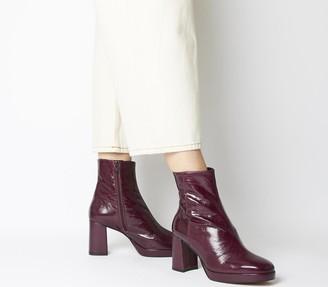Office Aquarius Low Platform Boots Burgundy Leather