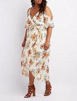 Charlotte Russe Plus Size Floral Surplice Cold Shoulder Maxi Dress