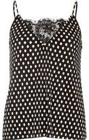 River Island Womens Black polka dot pleated cami top