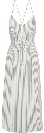 J Brand Lace-up Striped Jacquard Midi Dress