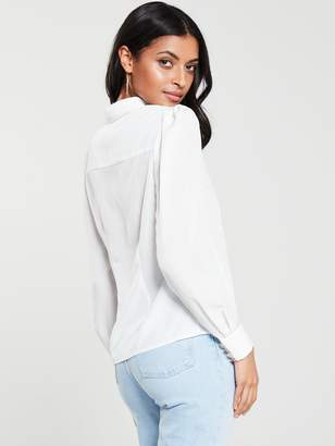 Very Lace Insert Long Sleeve Shirt - Ivory