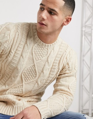 Asos Design DESIGN heavyweight cable knit sweater in oatmeal-Beige