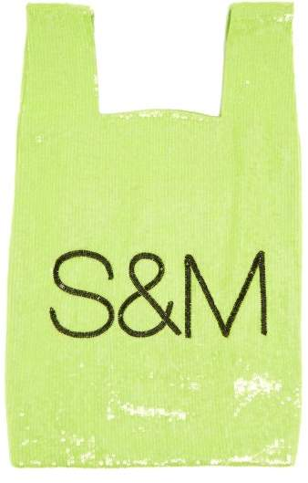 Ashish S&m Sequin Embellished Cotton Bag - Womens - Green
