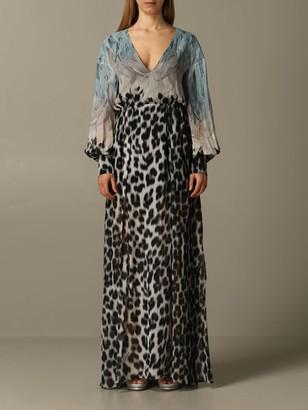 Just Cavalli Dress Long Dress In Printed Chiffon