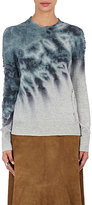 Raquel Allegra Women's Distressed Tie-Dyed Merino Wool-Cashmere Sweater-GREEN