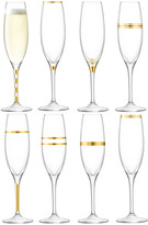 LSA International Deco Assorted Gold Champagne Flutes - Set of 8