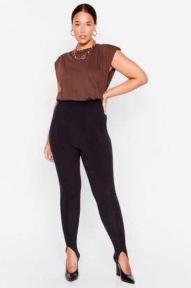 Nasty Gal Womens Stirrup to No Good Ribbed High-Waisted Leggings - Black