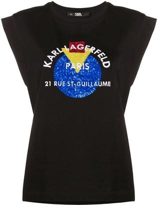 Karl Lagerfeld Paris Bauhaus Address logo tank top