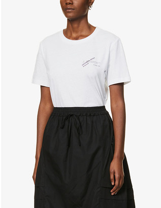 Designers Remix #2 text-print upcycled cotton-blend T-shirt