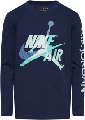 Jordan Jumpman Graphic Long Sleeve T-Shirt - Midnight Navy Blue / Light Aqua Teal Tint