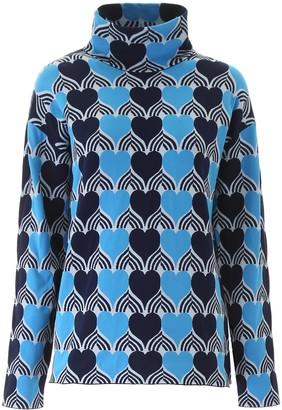 MONCLER GRENOBLE Heart Pattern Turtleneck Sweater