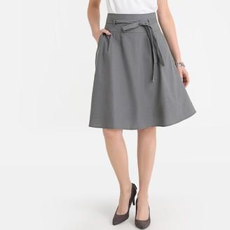Anne Weyburn Linen Blend Tie-Waist Skirt