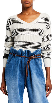 Brunello Cucinelli Shimmered Striped V-Neck Sweater
