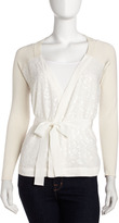 Pink Tartan Wrapped Sequin Cardigan, Ivory