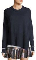 Derek Lam 10 Crosby Crewneck Asymmetric Long-Sleeve Merino Wool Sweater