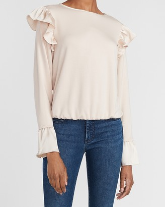 Express Satin Ruffle Flare Cuff Top