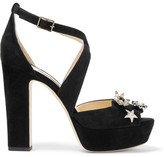 Jimmy Choo Janet Embellished Suede Platform Sandals - Black