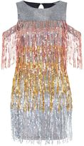 Jaded London **Sequin Fringed Cold Shoulder Dress