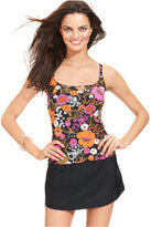 Island Escape Floral-Print Push-Up Tankini Top