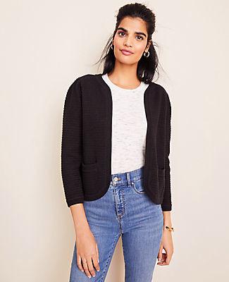 Ann Taylor Puff Sleeve Open Sweater Jacket