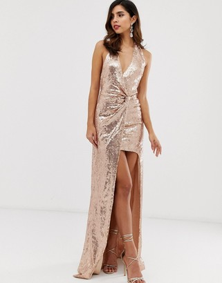 City Goddess extreme split all over sequin maxi dress-Beige