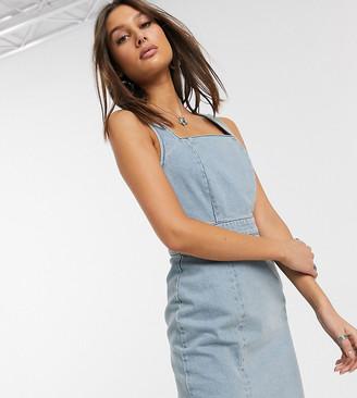 Asos DESIGN Tall denim ruched mini dress in lightwash blue
